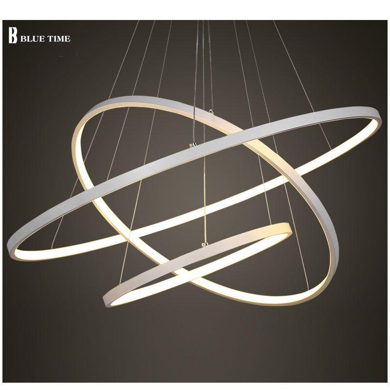 Black/White Color Modern pendant lights for living room dining room 4/3/2/1 Circle Rings acrylic aluminum body LED ceiling Lamp