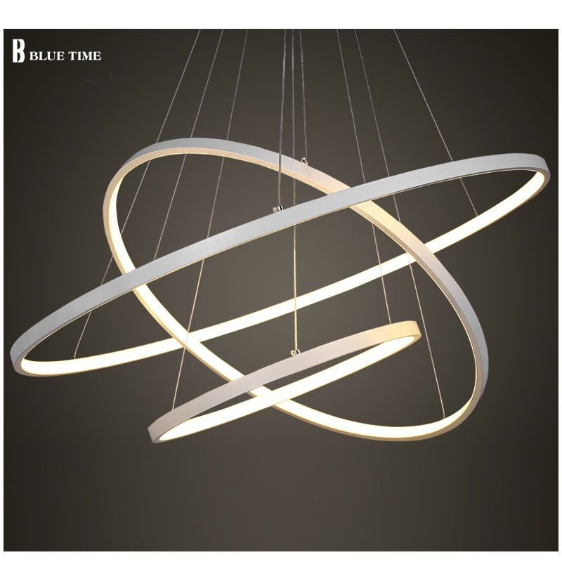 Black/White Color Modern pendant lights for living room dining room 4/3/2/1 Circle Rings acrylic aluminum body LED ceiling Lamp