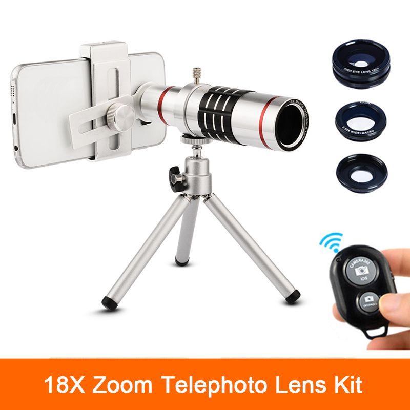 Universel Clips 18x Zoom Lentilles Télescope Téléobjectif Lentes Avec Trépied Poissons eye Grand Angle Macro Objectif Pour iPhone 6 7 téléphone portable