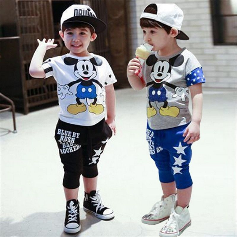Mode mickey enfants vêtements ensemble bébé filles garçons vêtements ensembles Minnie manches courtes t-shirt + pantalon style d'été enfants sport costume