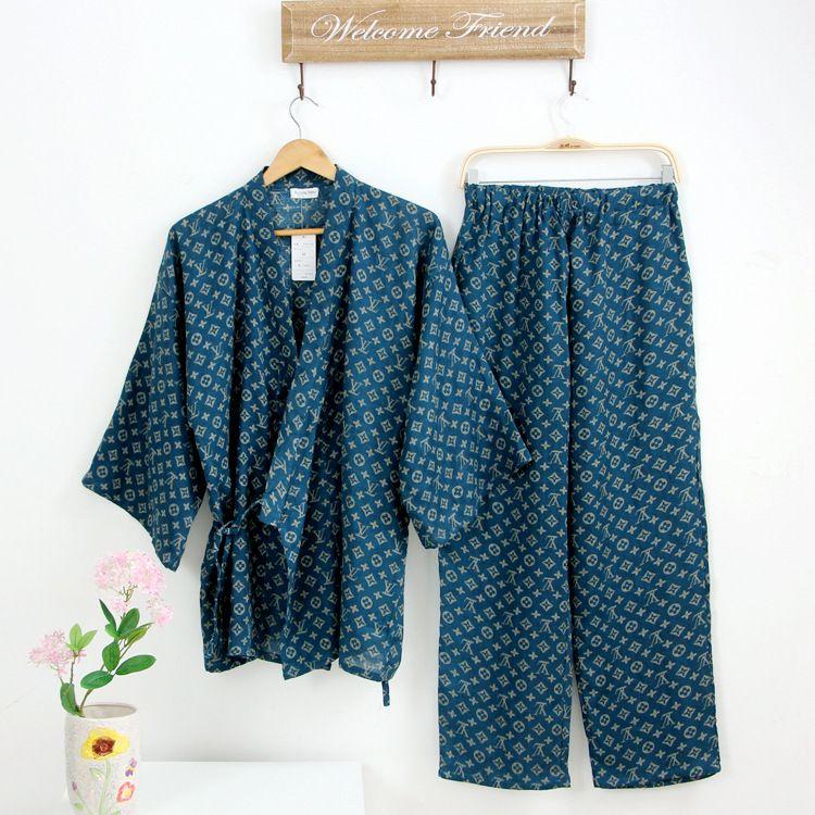 Sommer Männer Japanischen Kimono robe Pyjamas Anzug männlichen japan Baumwolle Doppel-gaze-gewebe Lose Nachtwäsche Nachthemd Top & Buttoms Set