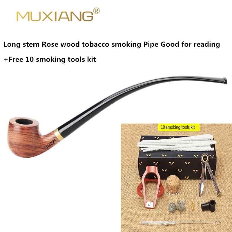 MUXIANG Marguillier Longue Tige kevazingo Pipe en bois pour Mauvaises Herbes 3mm Filtre En Bois Tabac Pipe Acrylique Porte-Parole ad0008