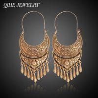 QIHE joyería antigua plata Color oro tibetano pendiente Boho colgante declaración Color plata joyería gitana brincos