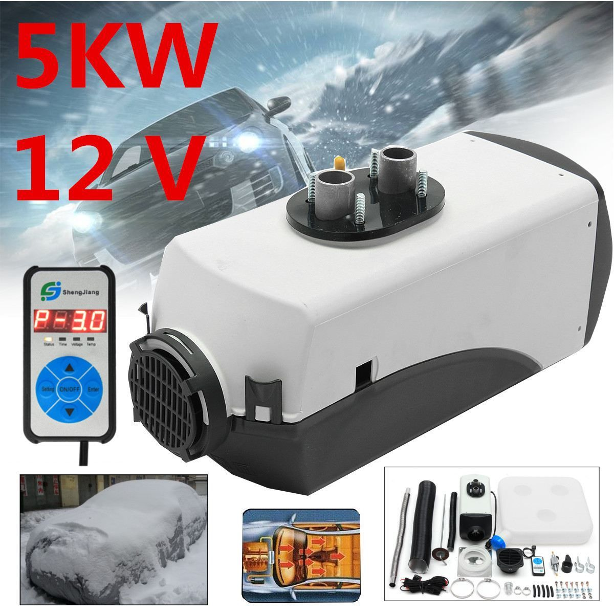 12V 5000W Air diesel- Heater 5 kW for trucks, motor-homes, boats, bus HOT Digital Switch Car Heater