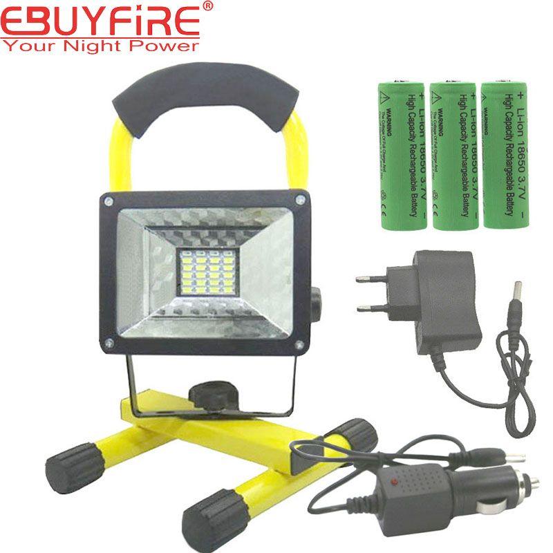 Ebuyfire 18650 Перезаряжаемые прожектор 24 LED Рыбы огни лампы 30 Вт открытый Водонепроницаемый по 3X18650 Перезаряжаемые Батарея