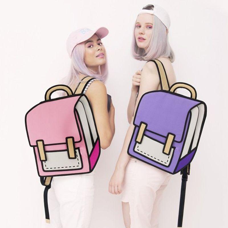 Flyone Fashion Cute Student Bags Women Backpack 3D <font><b>Jump</b></font> Style 2D Drawing Cartoon Back Bag Comic Unisex Knapsack Bolos FY0189