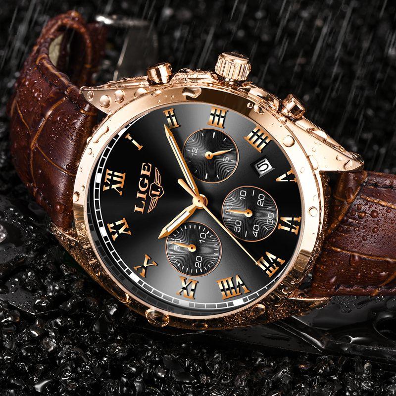 2019 LIGE hommes montres Top marque de luxe étanche 24 heures Date Quartz horloge mâle en cuir Sport montre-bracelet Relogio Masculino