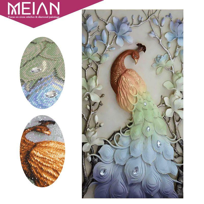 Meian,<font><b>Special</b></font> Shaped,Diamond Embroidery,Animal,Peacock,5D,Diamond Painting,Cross Stitch,3D,Diamond Mosaic,Decoration,Christmas