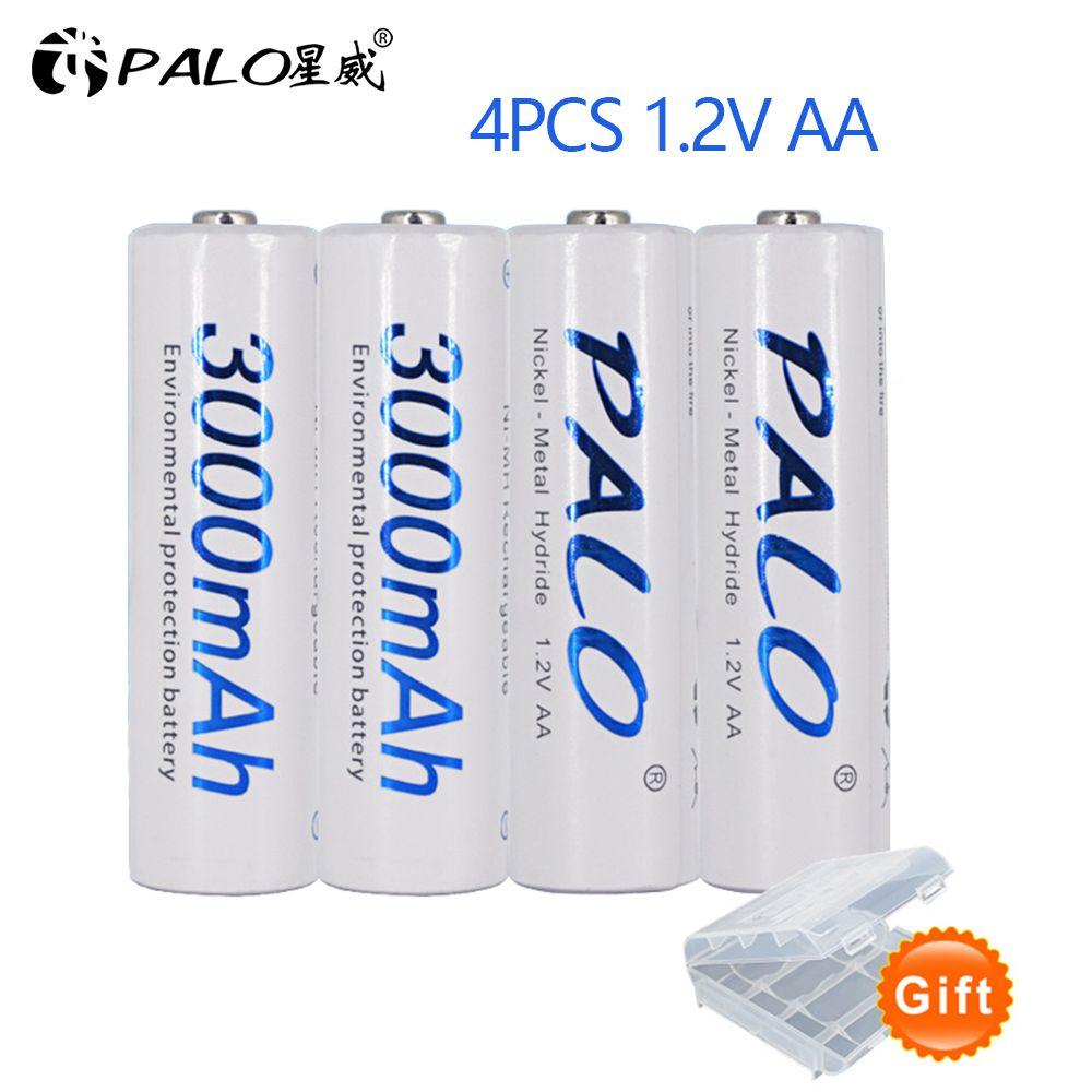 4 pièces 2a AA Batterie Batteries 1.2V AA 3000mAh Ni-MH préchargé Batterie Rechargeable 2A Baterias pour Appareil Photo, horloge et Rasoir