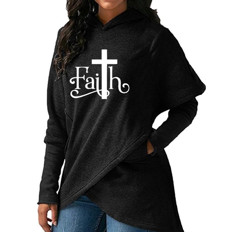 High Quality Large Size Dropshipping 2019 New Fashion Faith Print Sweatshirt Femmes Sweatshirts Hoodies Women Female Clothings