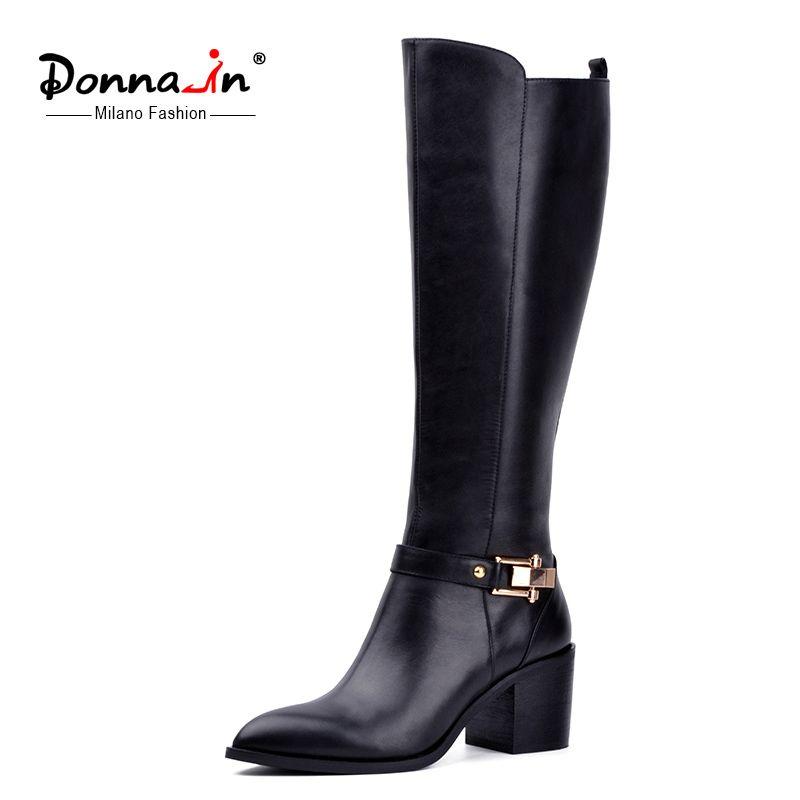 Donna-en 2016 nouveau style sur le genou de haute bottes à lacets en cuir femmes bottes à talons hauts dames bottes