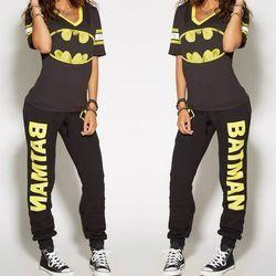Batman Ladies Cosplay Costumes T-shirt Top Joggers Trousers Sport Gym Pants Tracksuit