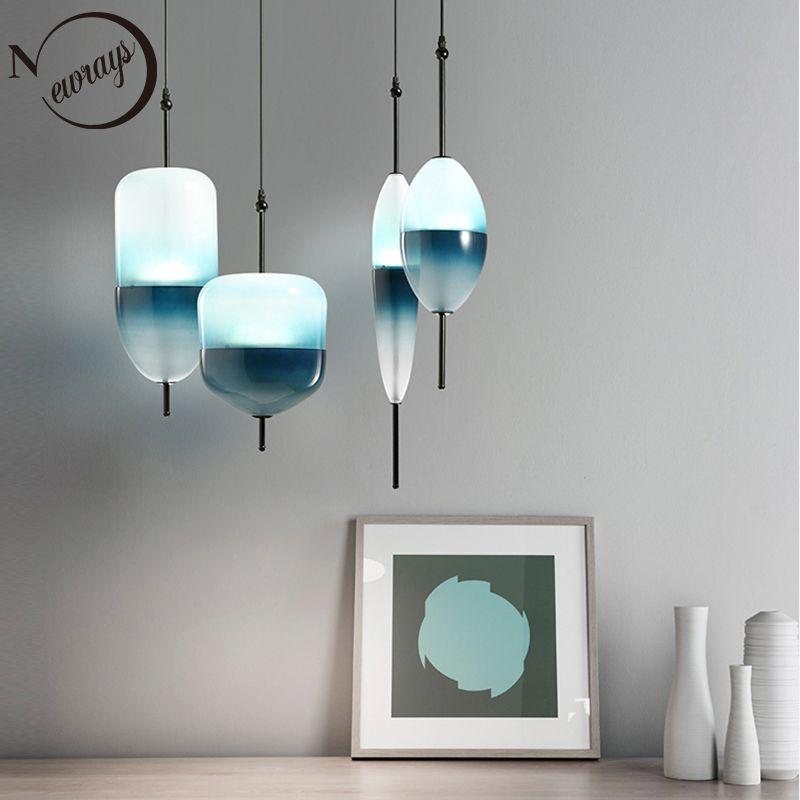 Nordic modern teardrop-shaped blue glass pendant light LED art deco simple white hanging lamp for living room restaurant kitchen