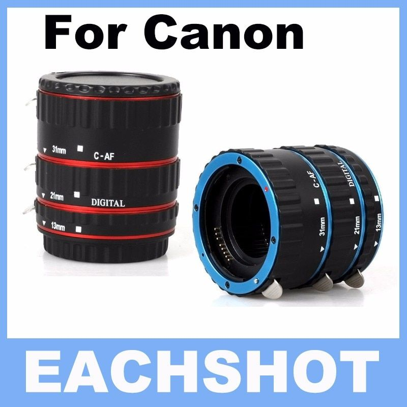 Red&Blue Metal Mount Auto Focus AF Macro Extension Tube/Ring for Canon EF-S Lens T5i T4i T3i T2i 100D 60D 70D 550D 600D 6D 7D