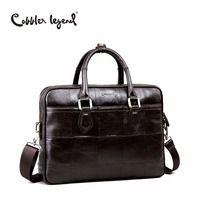 Cobbler Legend брендовая дизайнерская мужская сумка-портфель из натуральной кожи для мужчин сумки через плечо для 15 ''ноутбук деловая сумка 0907159-1