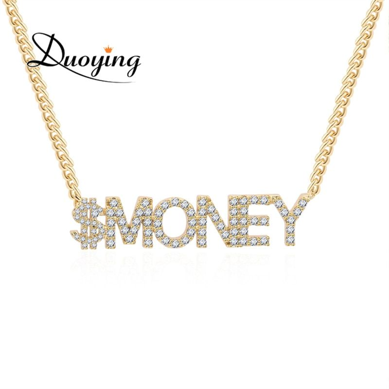 Duoying Crystal Pendant Necklace for Women Name Necklace Stone Chain Zirconia Custom Necklaces Personalized Women Dropshiping