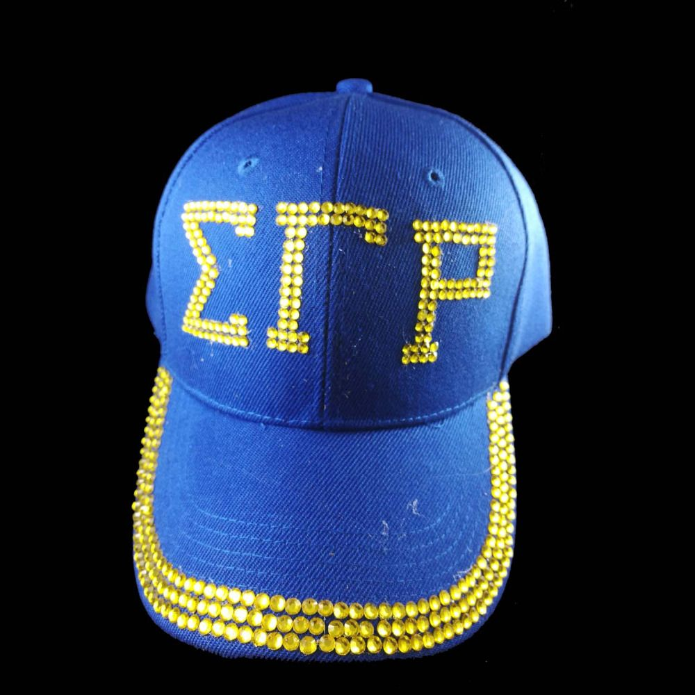 Wholesale  crystal stone Point SGR  Sorority  letters style Glass denim caps women Sigma Gamma Rho Rhinestone Hat