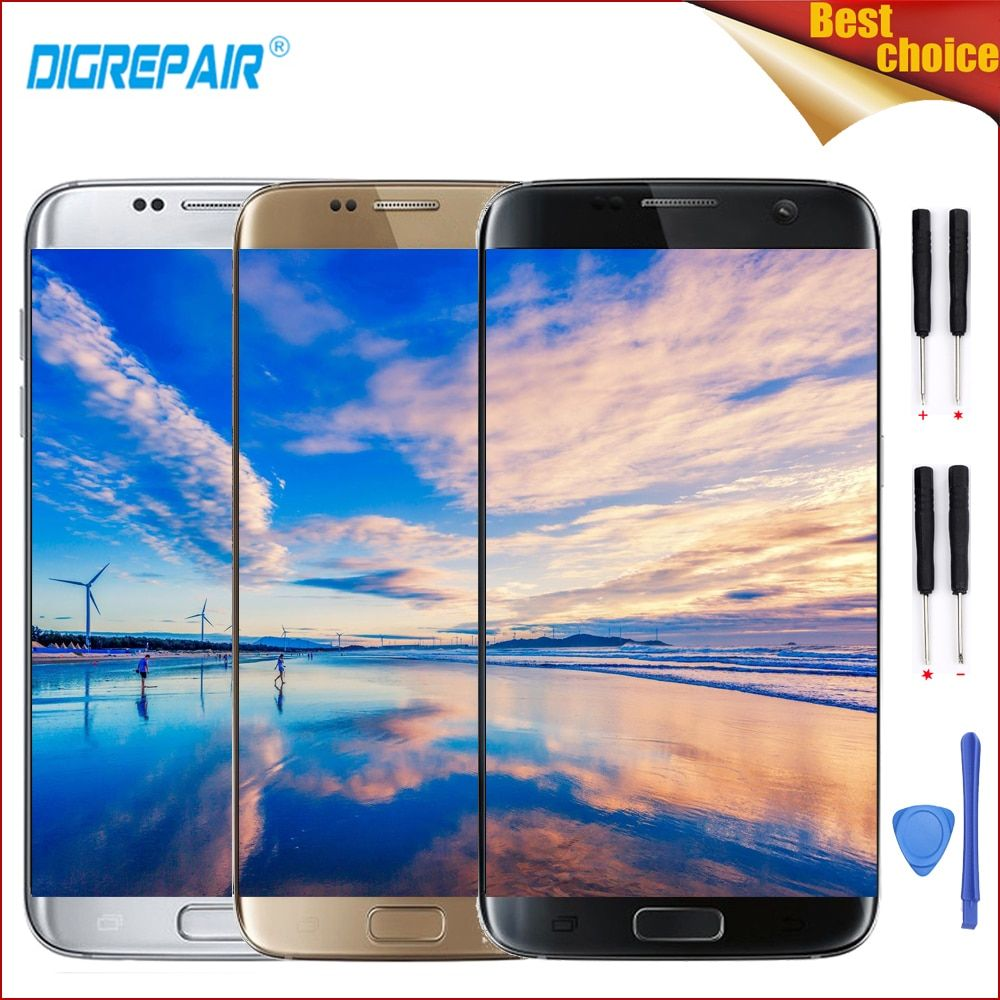 Hohe Qualität Schwarz/Gold/Silber Für Samsung Galaxy S7 Rand SM-G935F LCD Display Touchscreen Digitizer Assembly Teile + rahmen + Werkzeuge