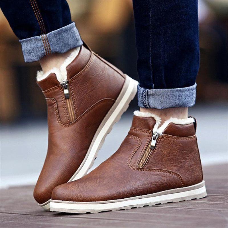 SAGACE Men Winter Warm Boots Casual Shoes Men Fashion Plush Snow Boots Ankle Boots Fur Leather Footwear botas Size39-44