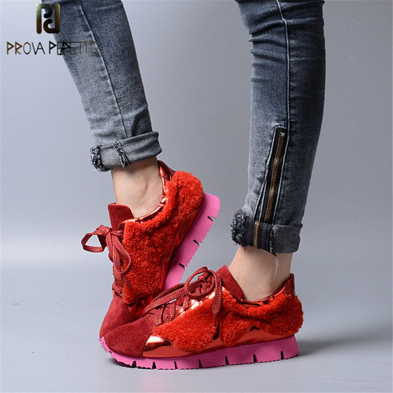 Prova Perfetto Spring Fashion Genuine Leather Casual Women Shoes Real Wool Fur Thick Bottom Lace-Up Shallow Mixed Color Shoes
