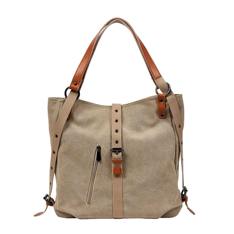 Women Capacity Totes Female Hobos Single Shoulder Bags Solid Vintage Multi-function Shoulder Bag Double Conversion