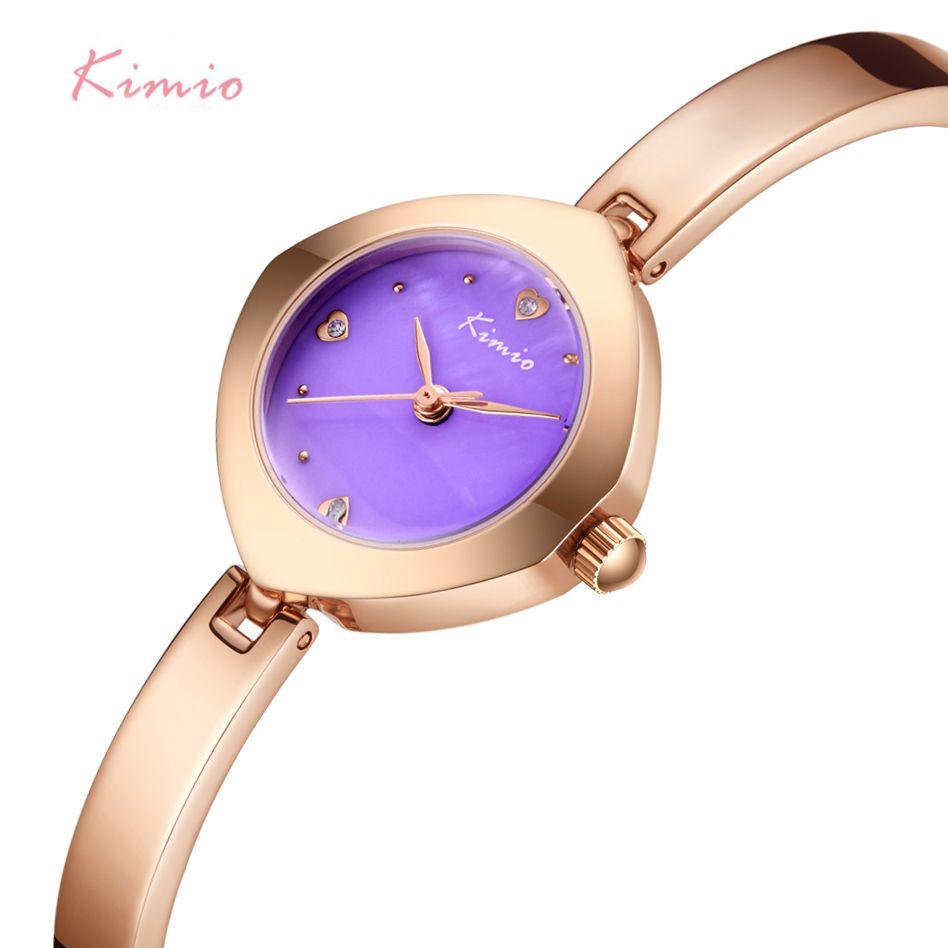 KIMIO Brand Women Dream Purple Diamond Dial Watch Ladies Unique Design Bracelet Watch Waterproof Clock For Bride Montre Femme