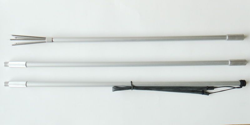 2 METER 3 PIECES ALUMINIUM ANODIZED 5 PRONGS HARPOON HAND SPEAR