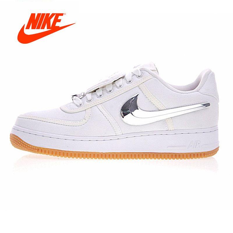 Original Neue Ankunft Authentic Nike Air Force 1 Low Travis Scott Männer Skateboard Schuhe Sport Sneaker Schuhe Weiß