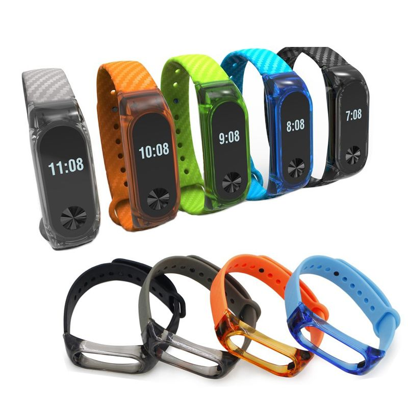 Carbon Fiber Straps for Xiaomi mi band 2 Strap Cover Case Watch Bands Silicone Sport Plating Alloy Metal Watchbands Shockproof