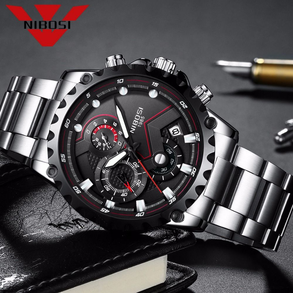 NIBOSI Men Large Face Dial Sports Watches Men's Outdoor Fashion Army Watch Military Quartz Wristwatches Hiking Traveling Style
