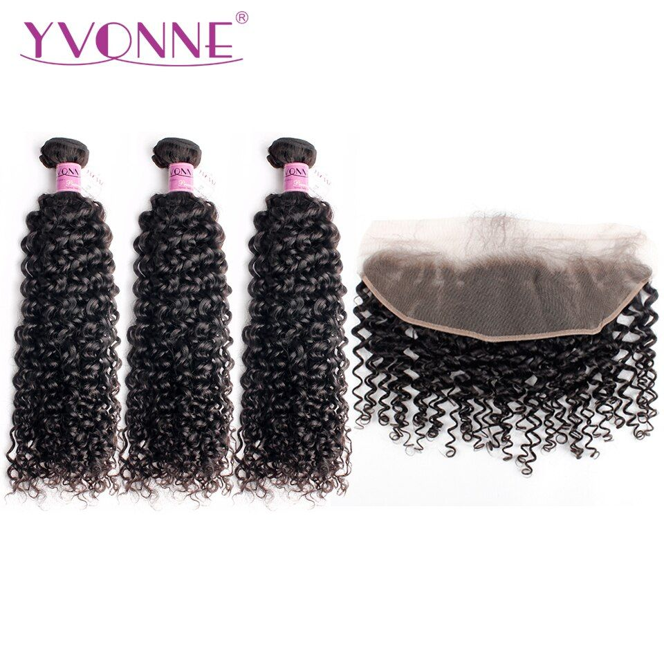 Yvonne Malaysian Curly Human Hair Frontal With Bundles Natural Color Virgin Hair Weave 3 Bundles With Frontal 13*4