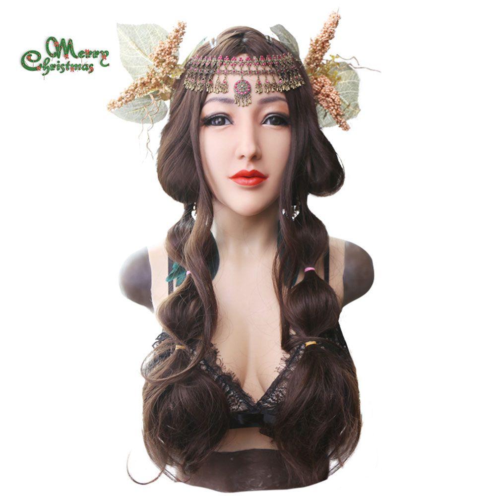 EYUNG göttin realistische Alice weibliche gesicht für crossdresser Maskerade mit flüssigkeit silikon füllung D tasse brust platte gefälschte titten