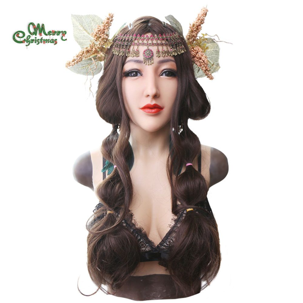 EYUNG goddess realistic Alice female face for crossdresser Masquerade with liquid silicone filling D cup breast plate fake boobs