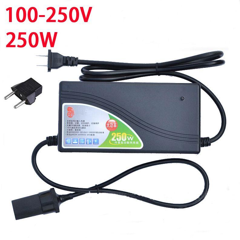 250W Power converter ac 220v(100~250v) input dc 12V 20A output adapter car power supply cigarette lighter plug