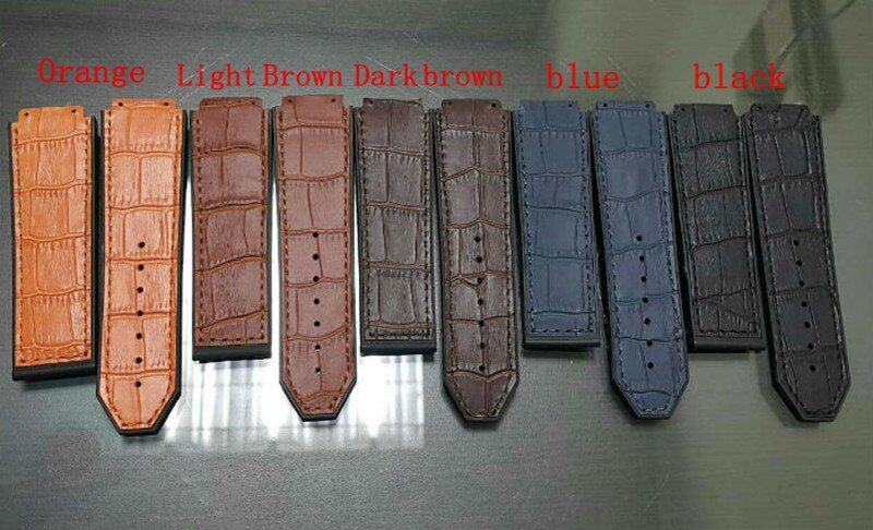 Watch Accessories For Hublot Straps <font><b>25MM</b></font> * 22MM Black / Blue / Orange Leather Rubber Strap For Men