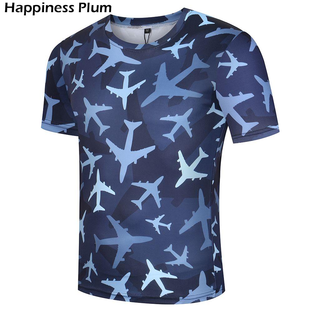 Avion T-shirt Camouflage chemises armée T Shirt hommes Fitness drôle 3d 2017 été hauts t-shirts Anime vêtements manches courtes Lycra