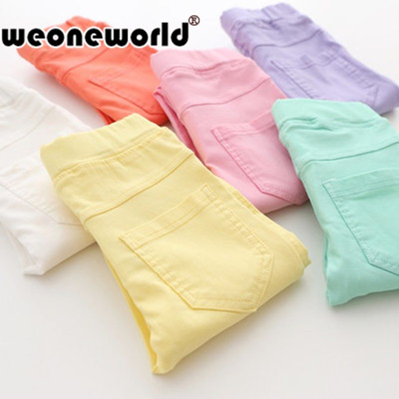 WEONEWORLD 2017 Summer Elestic Waist Children Kids Pants Baby Girl Jeans Candy Color Solid Causal Jeans For Girls Leggings