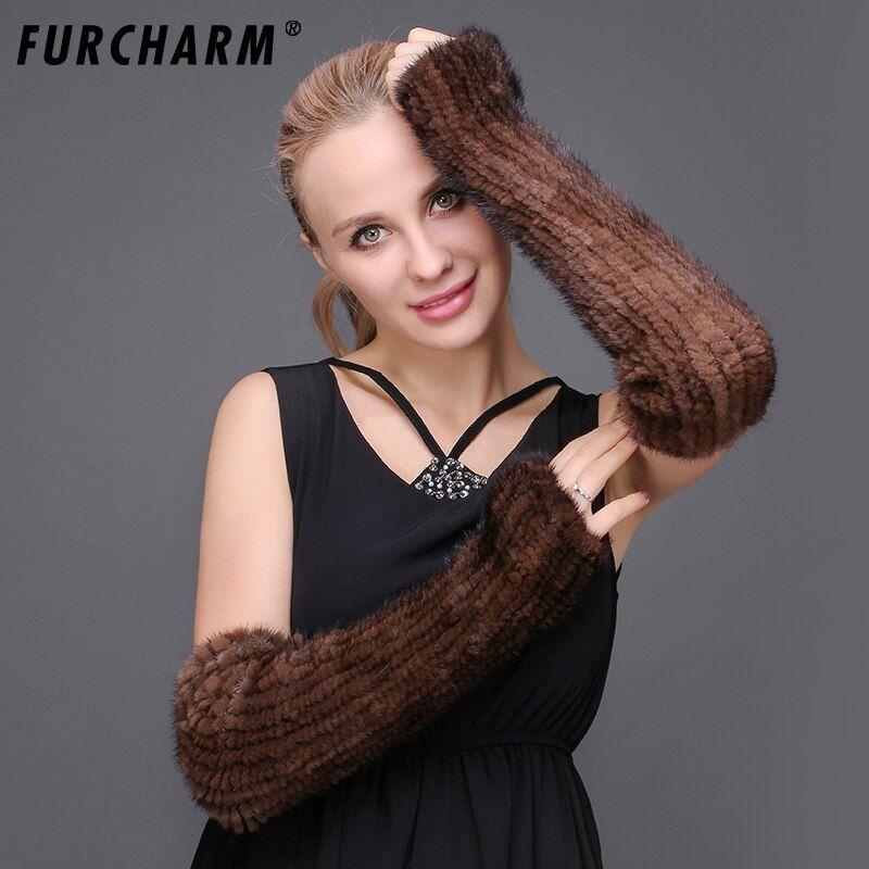 Women's Mink Fur Arm Warmers Autumn Winter 40cm Real Fur Knitted Arm Sleeves Solid Color Long Knitted Fingerless Gloves