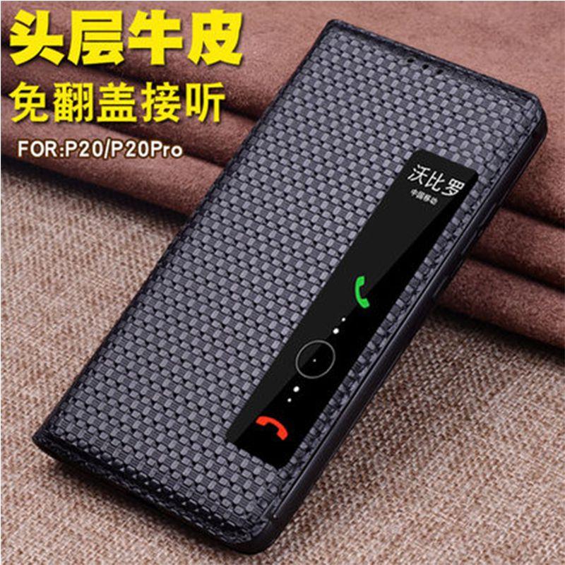 Für Huawei P20 Business Ständer Echtes Leder-kasten Für Huawei P20 Pro Flip Offenes Fenster-ansicht Abdeckung Cases Smart Telefon Fundas Haut