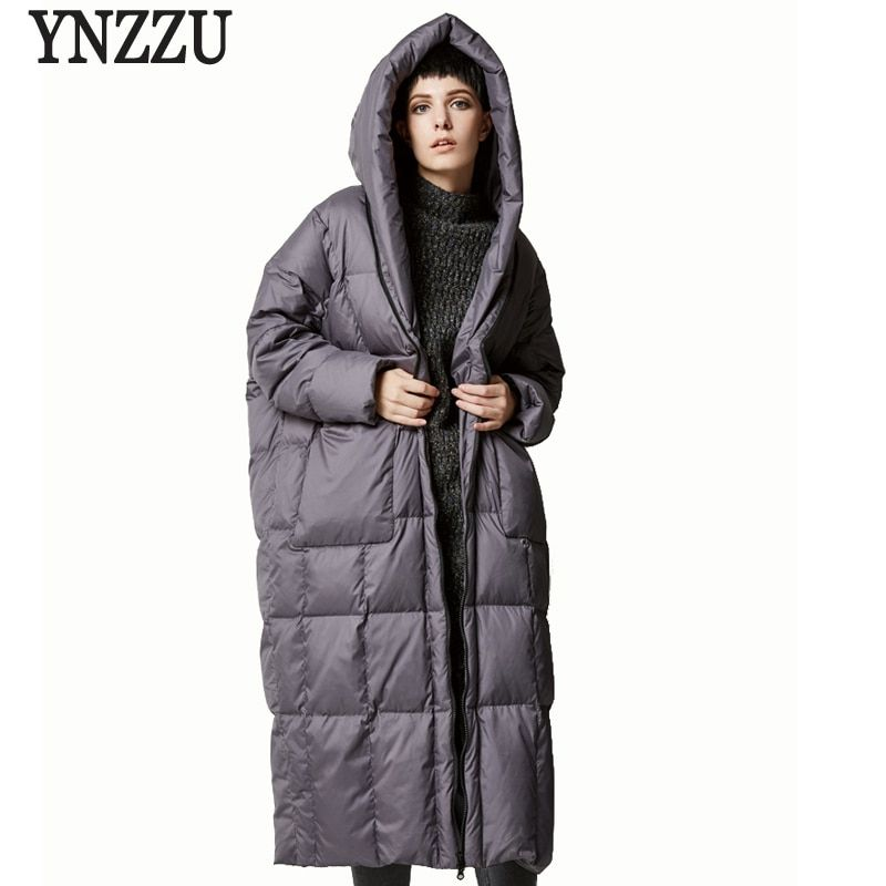 YNZZU Brand New Winter Women Long Down Jackets Casual Loose Duck Down Coats with Hooded High Quality Woman Winter Coat AO305