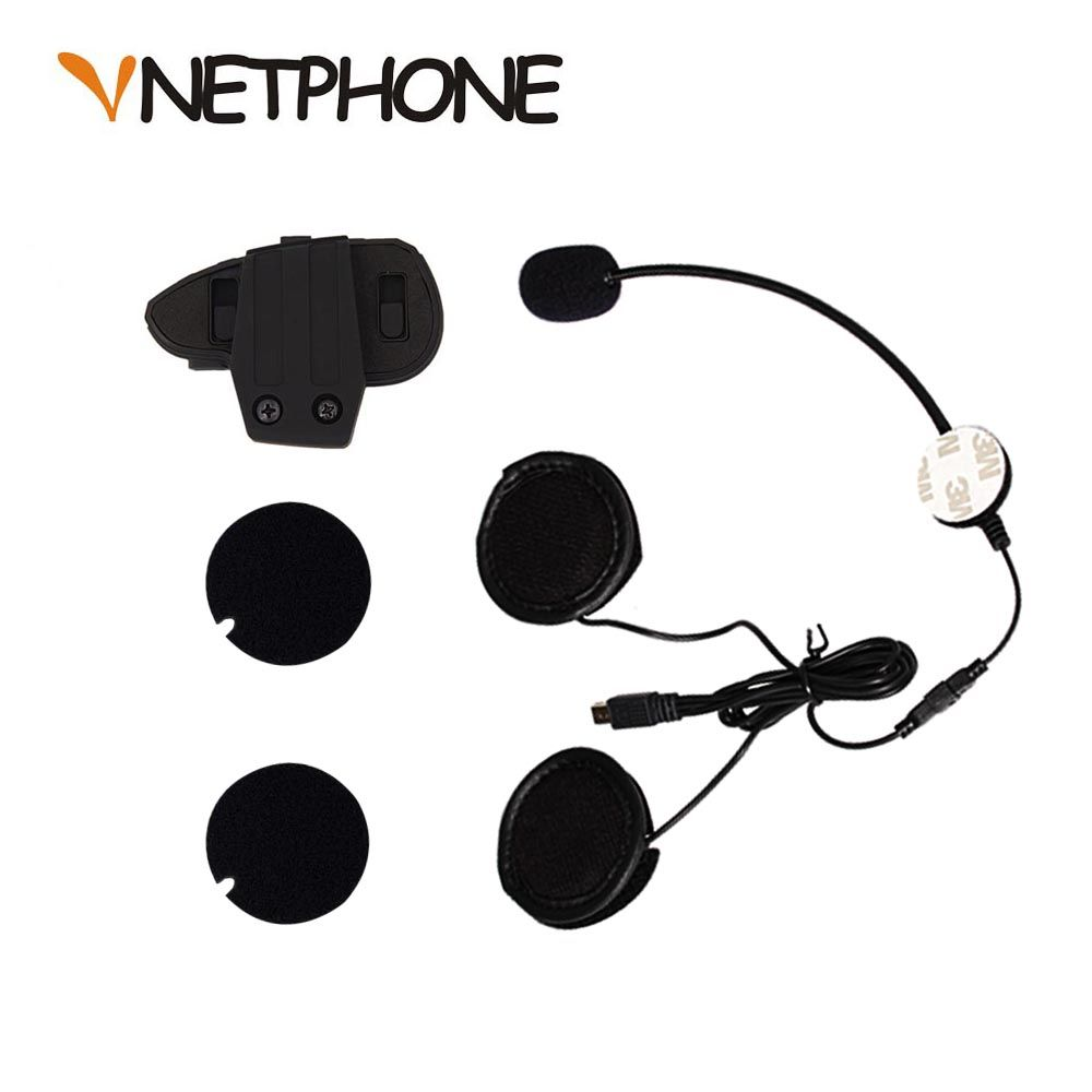 10 pin Mini USB Jack Microphone haut-parleur casque et casque interphone Clip pour moto Bluetooth dispositif VNETPHONE V8