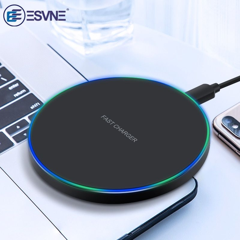 ESVNE 10W Fast Wireless Charger for iPhone X Xs MAX XR 8 USB Qi wirless charger for Samsung Xiaomi Huawei Wireless Charging