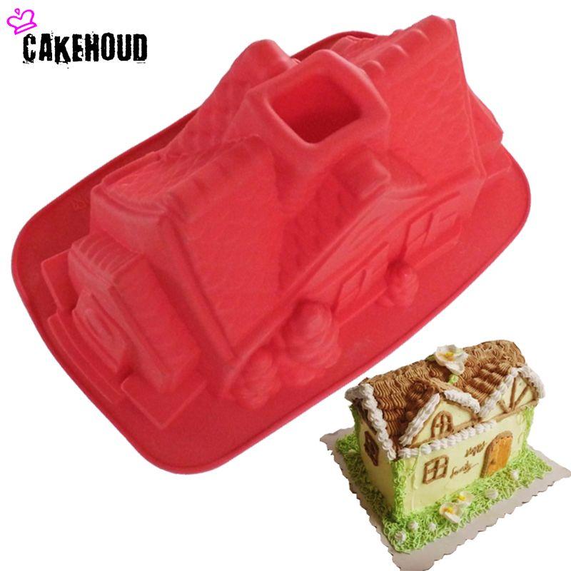 Nouveauté dessin animé maison forme gâteau moule bricolage chocolat, Fondant, pain, cuisson décoration sucre Cookie Silicone moules noël