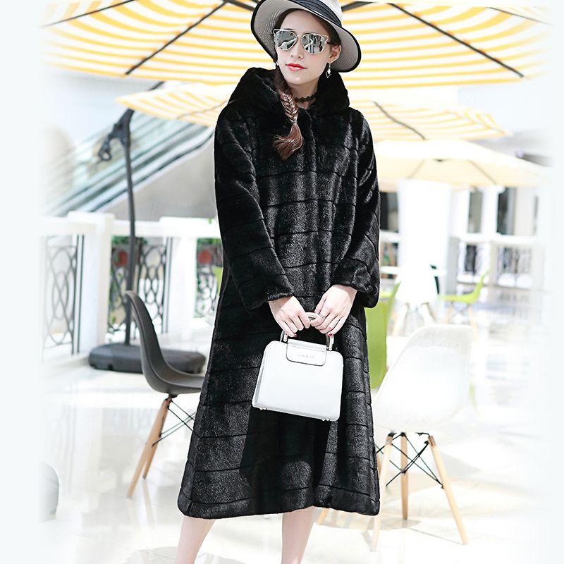 Nerazzurri Faux Fur Coat With Hood Plus Size Casual Loose Striped Fake Fur Jacket Women Long Sleeve Rex Rabbit Fur Overcoat