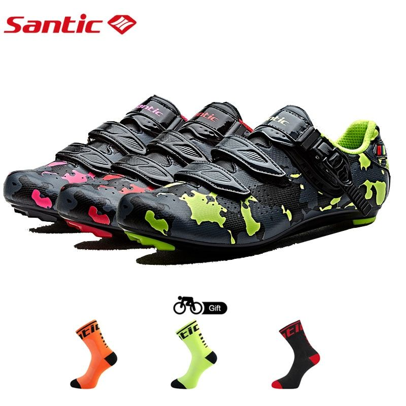 SANTIC Bike Cycling Road Shoes Breathable Carbon Fiber Riding Athletic Racing Team Bicycle Shoes Sapatilha Zapatillas Ciclismo