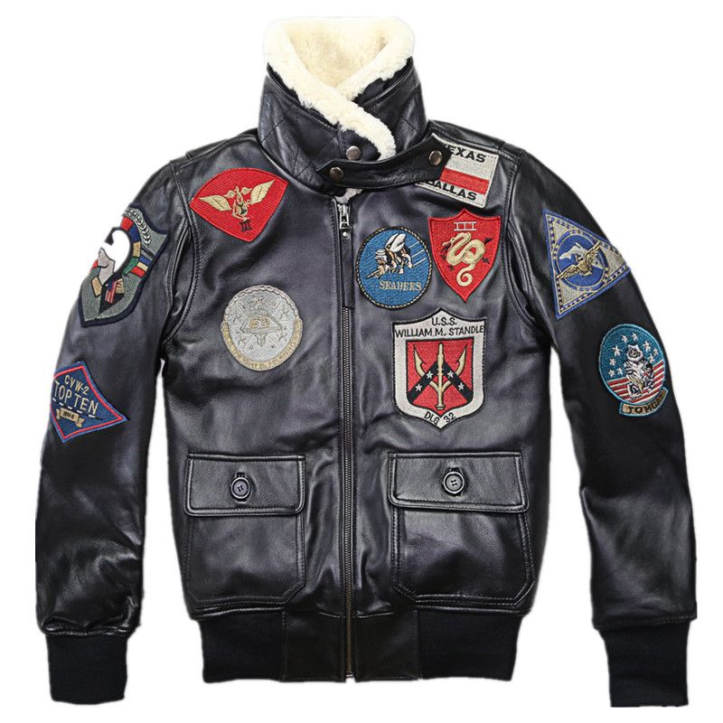 2018 Lovers TOP GUN Genuine Leather Pilot Jacket Wool Collar Real Thin Sheepskin Leather Pilot Coat Plus Size 5XL Can Customized