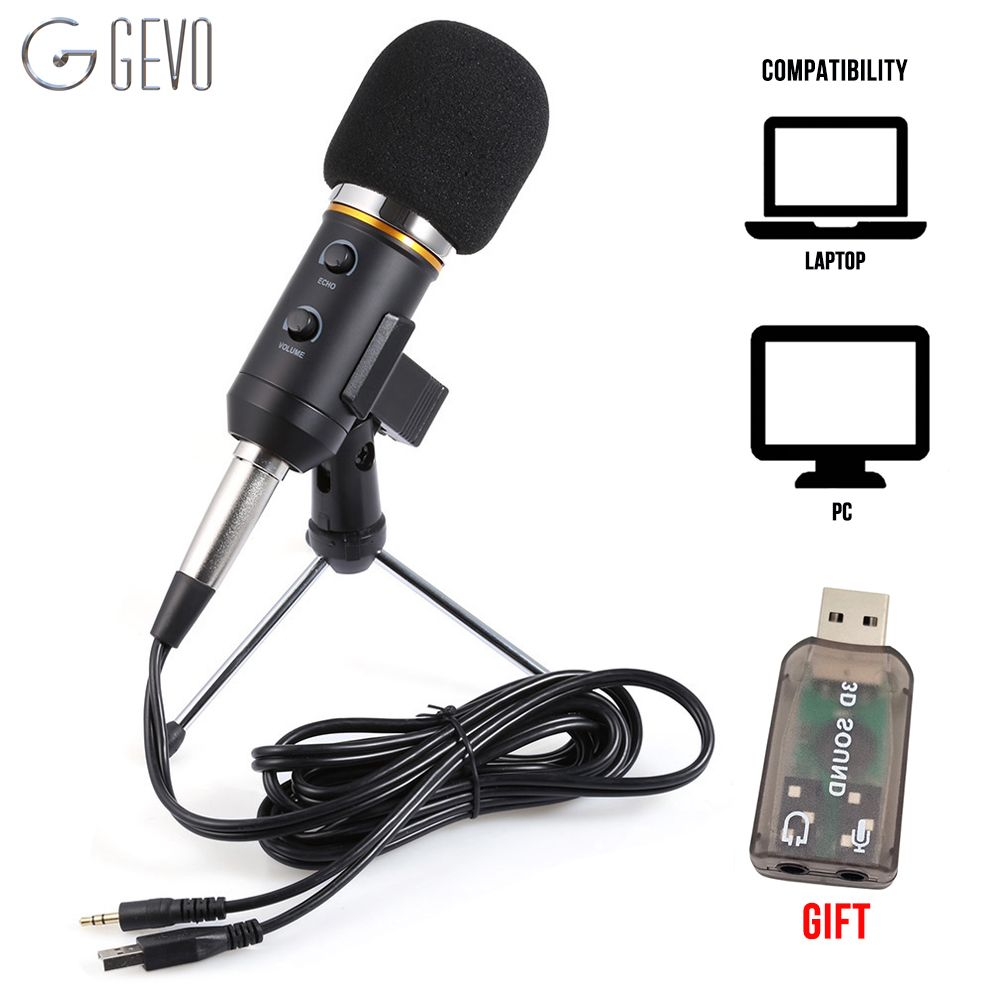 GEVO MK-F200FL Condenser Microphone For Computer Studio Profesionales 3.5mm Wired Stand USB Mic For PC Karaoke Laptop Recording