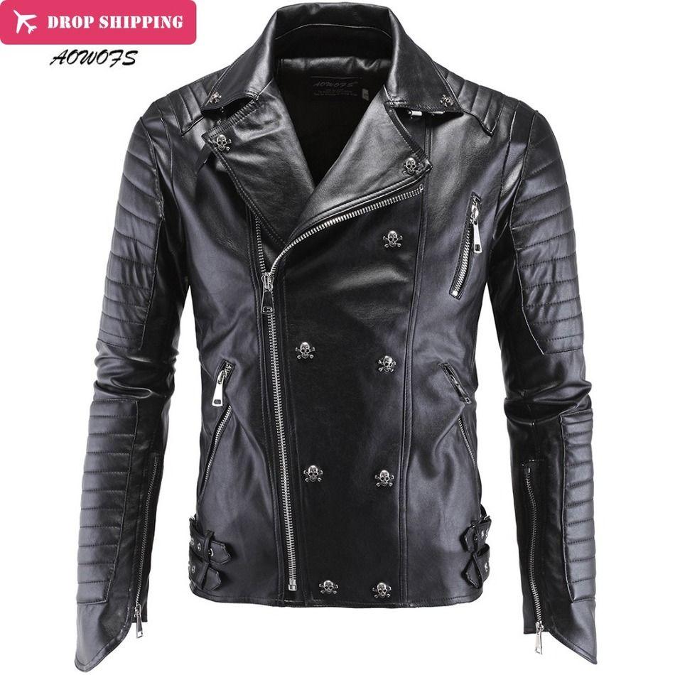 Fashion Men's Winter Leather Jackets Faux Jacket Korean Stylish Slim Fit Coats Men Moto Skull Suede Jacket For Men ,m-5xl ,P1