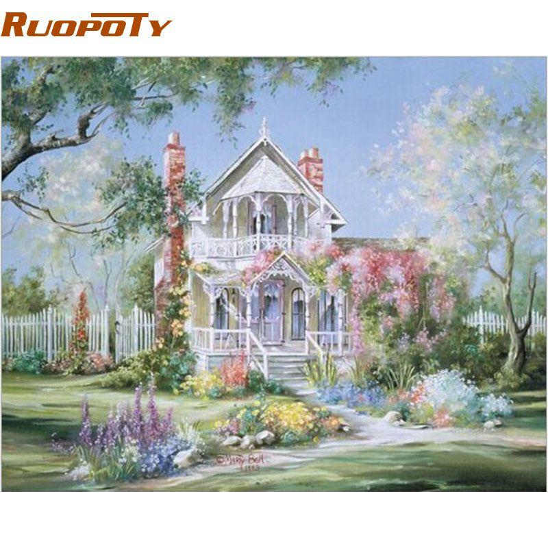 RUOPOTY cadre paysage maison peinture à la main par numéros peint à la main peinture à l'huile maison mur Art photo pour salon 40x50 cm