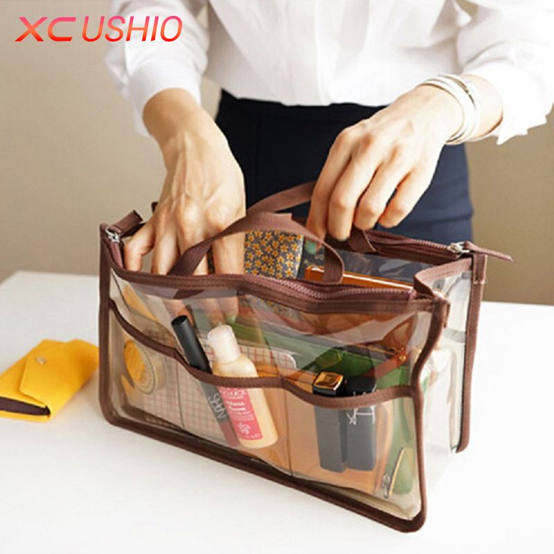 Portable Transparent PVC Travel Storage Bag Small Handbag Waterproof Cosmetic Bags Cases Travel Toiletry Bag Organizer Pouch